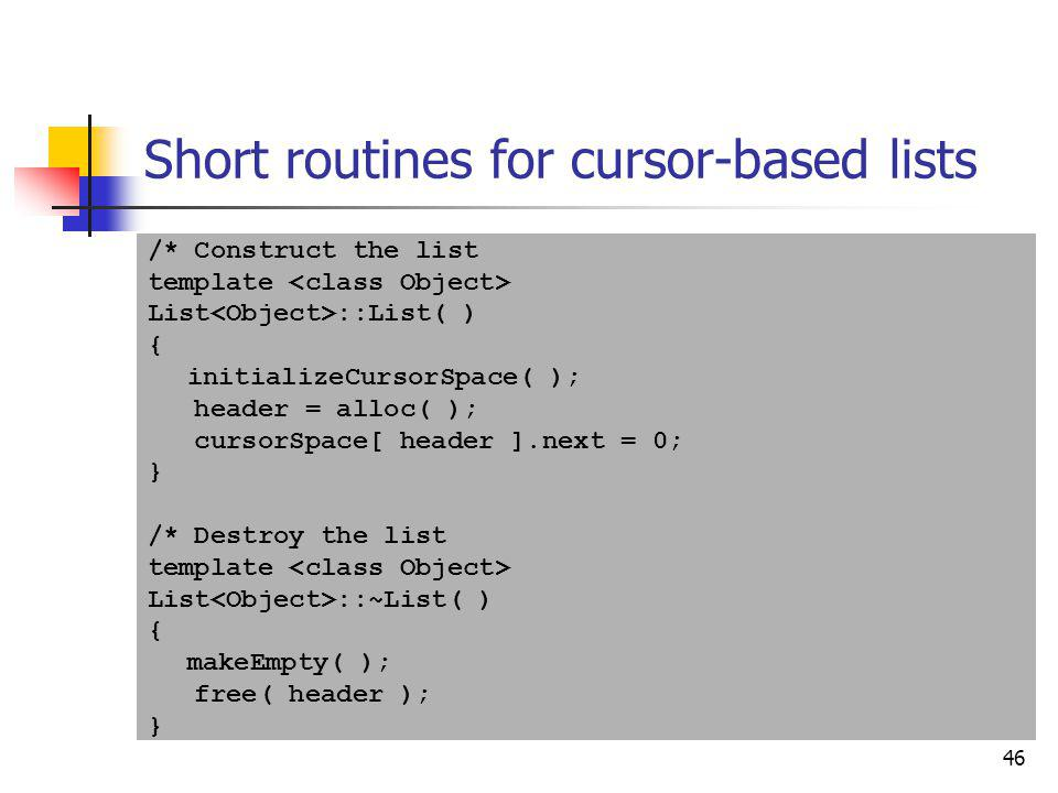 Short routines for cursor-based lists