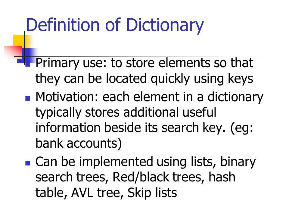 Definition of Dictionary