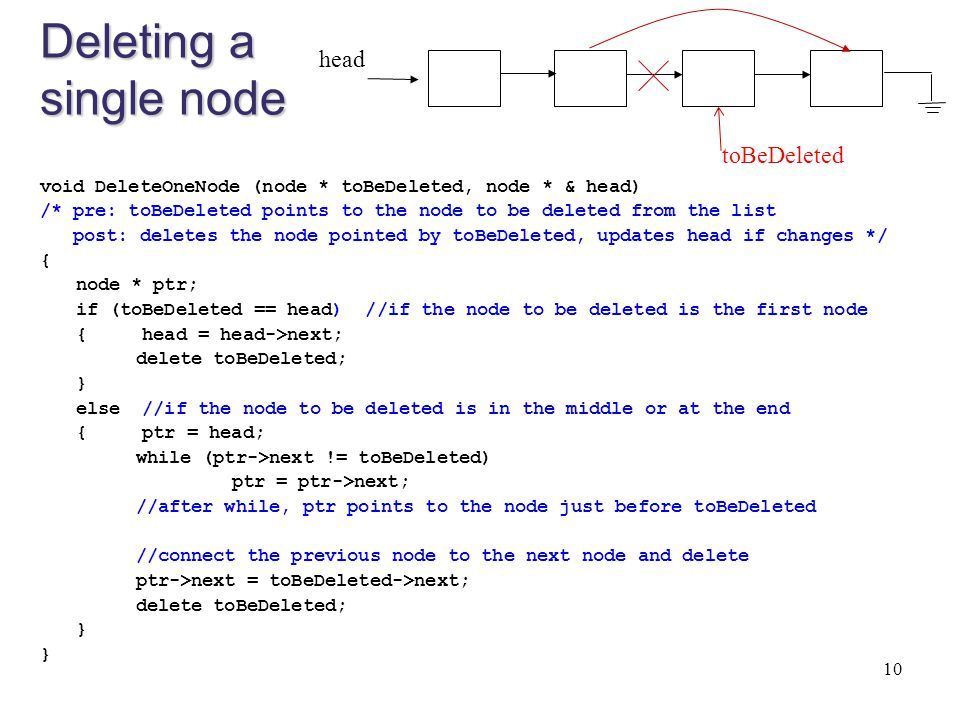 Deleting a single node head toBeDeleted