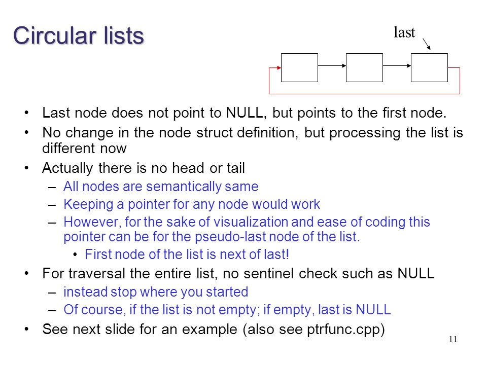 Circular lists last. Last node does not point to NULL, but points to the first node.