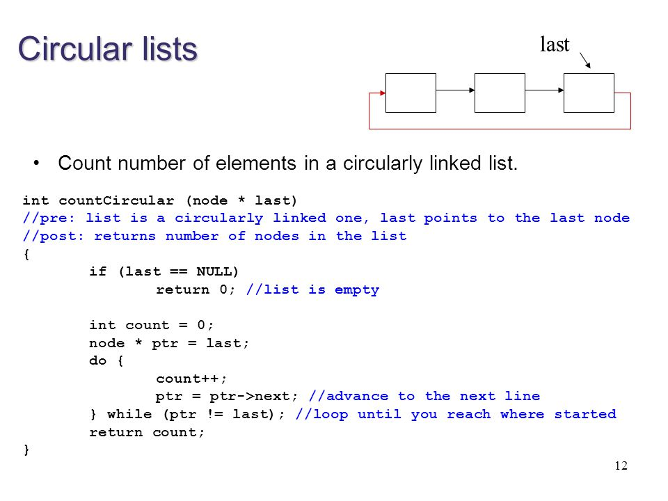 Circular lists last. Count number of elements in a circularly linked list. int countCircular (node * last)