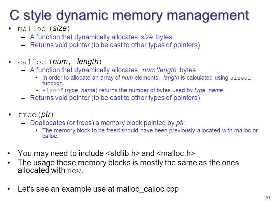C style dynamic memory management