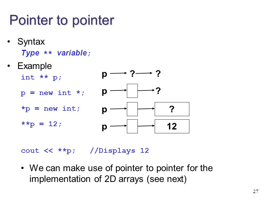 Pointer to pointer Syntax Example