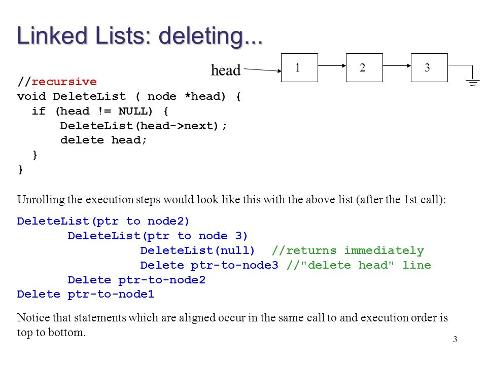 Linked Lists: deleting...