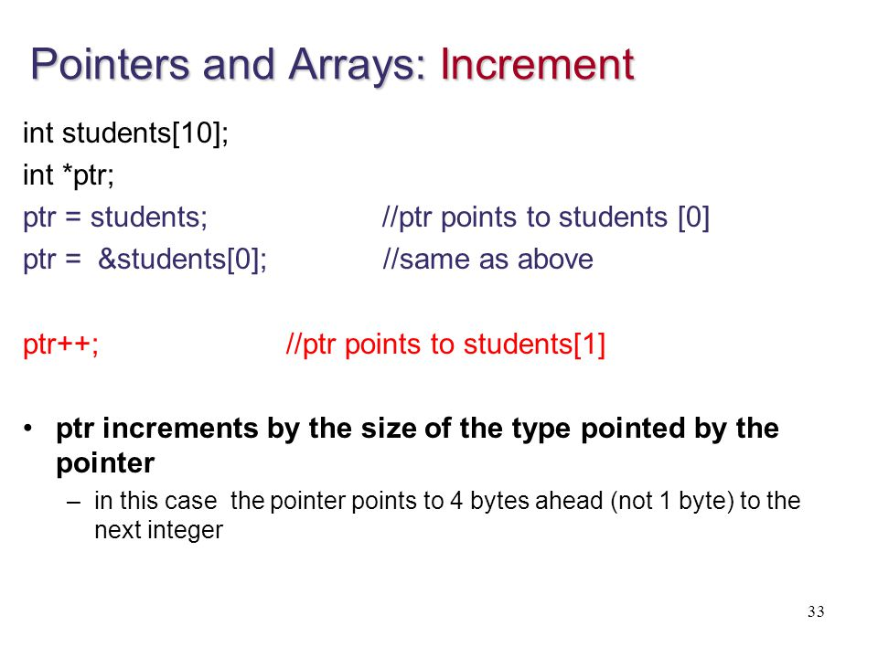 Pointers and Arrays: Increment