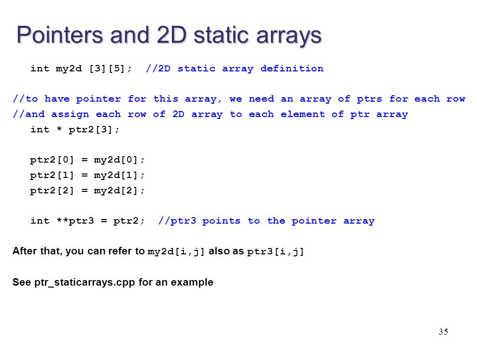 Pointers and 2D static arrays