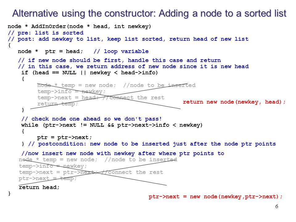 Alternative using the constructor: Adding a node to a sorted list