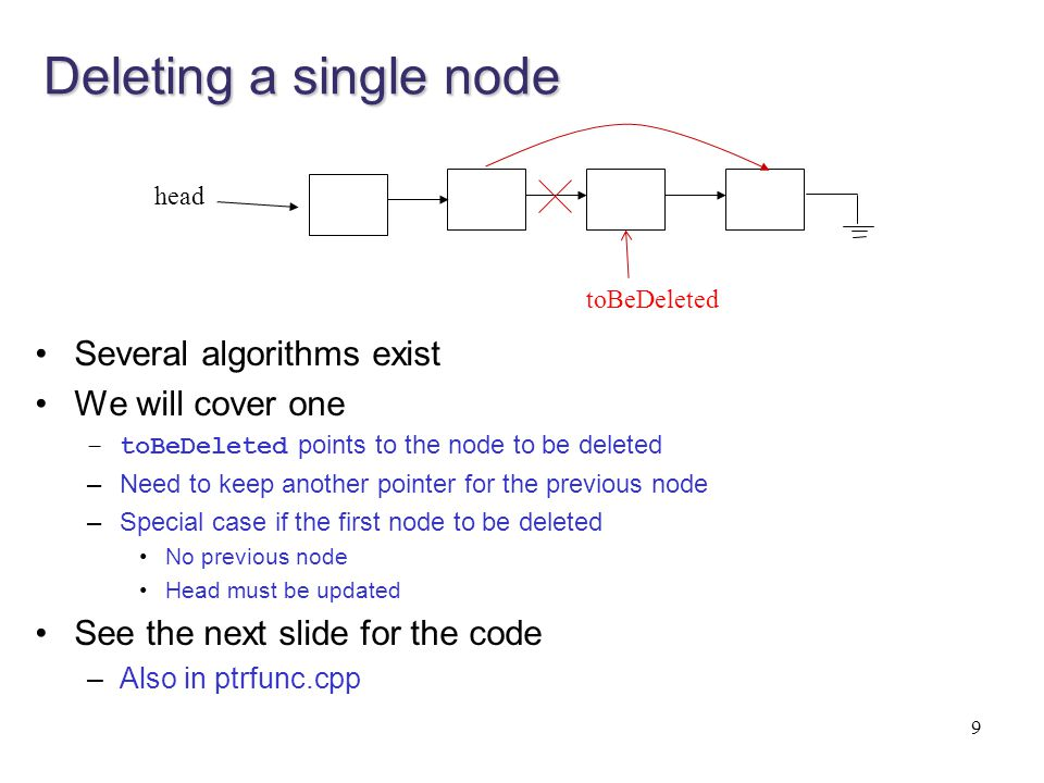 Deleting a single node Several algorithms exist We will cover one