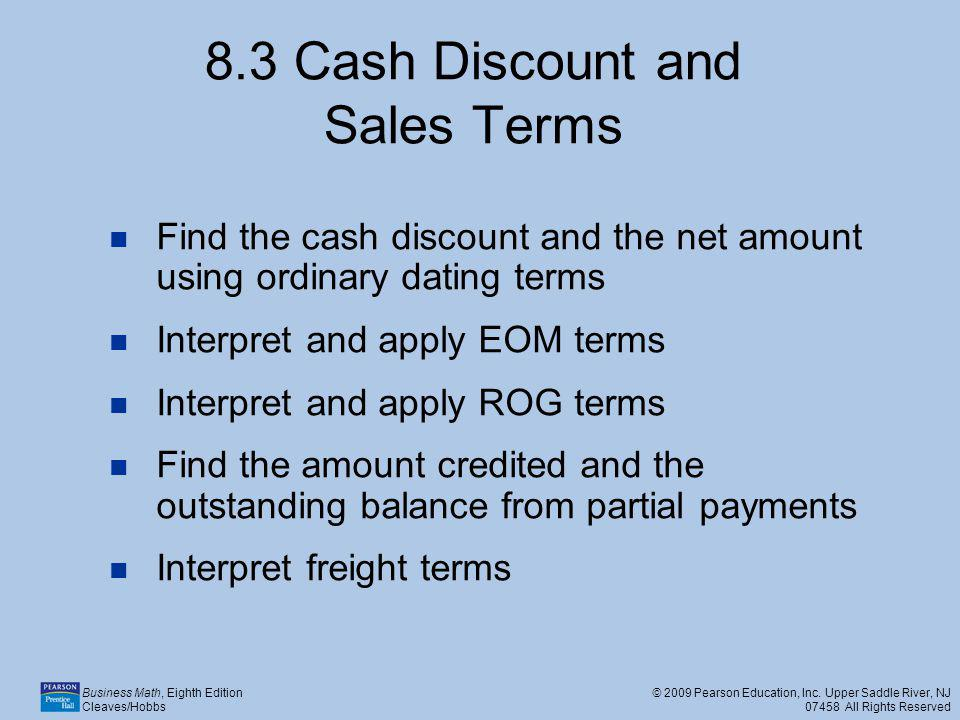 8.3 Cash Discount and Sales Terms