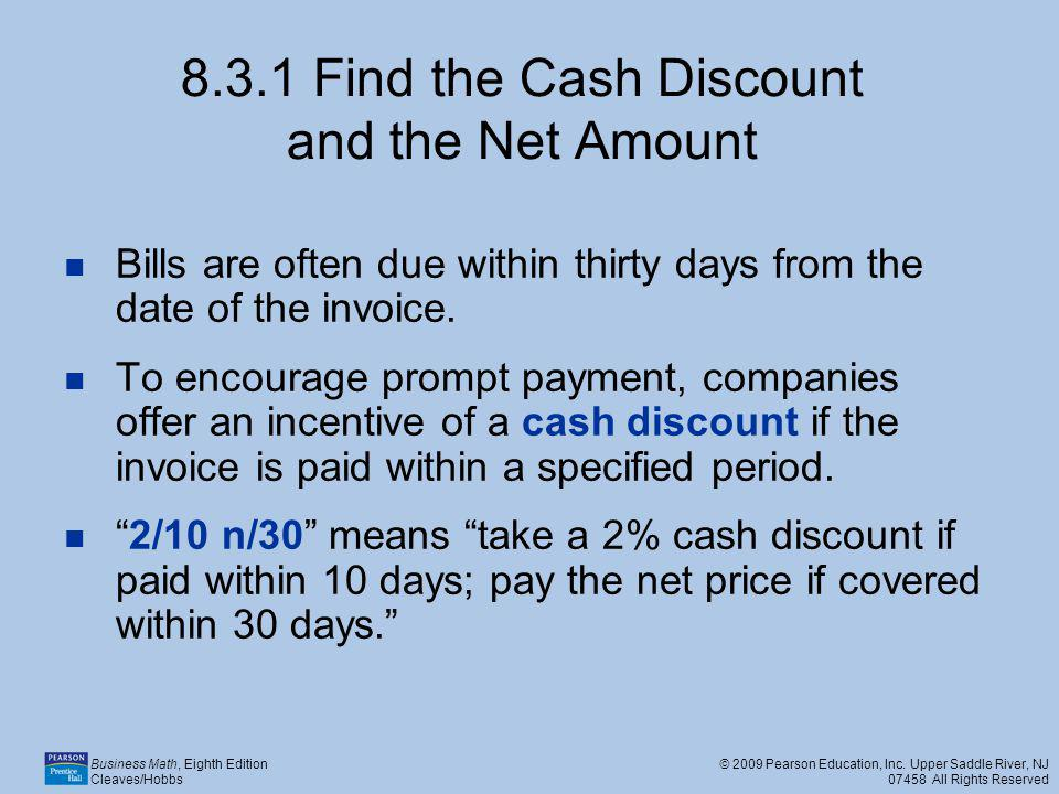 8.3.1 Find the Cash Discount and the Net Amount