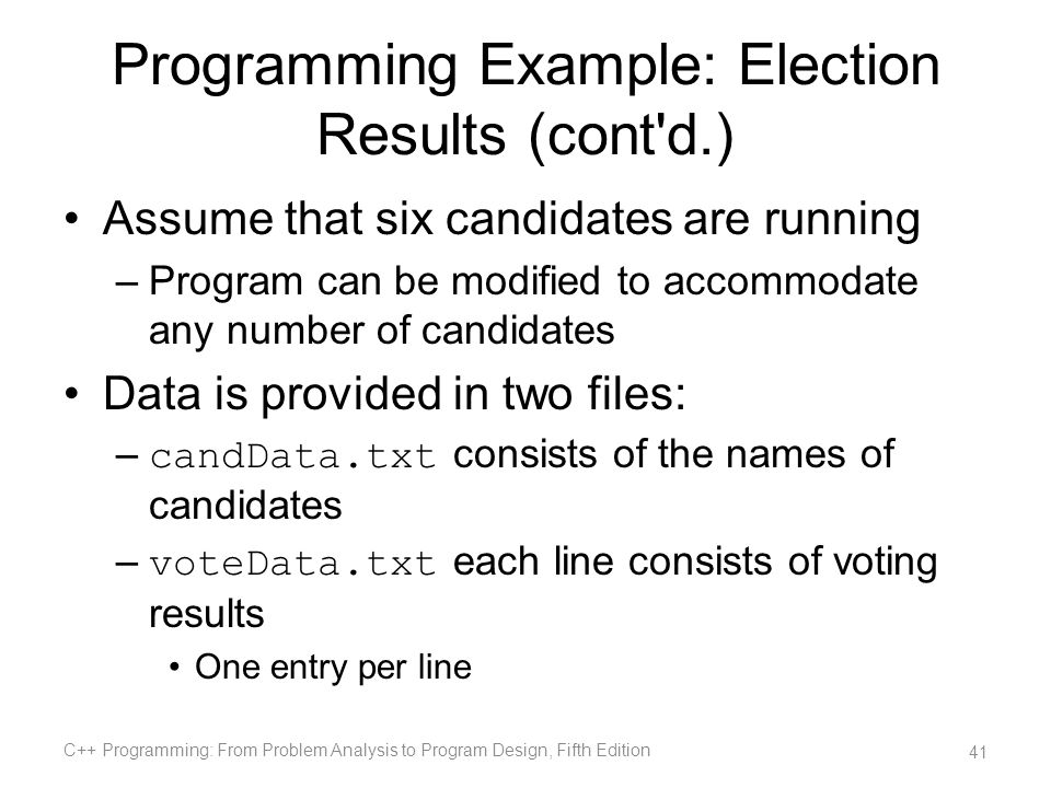 Programming Example: Election Results (cont d.)