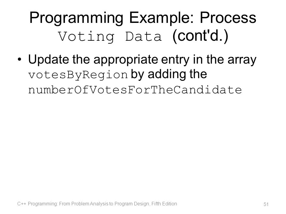 Programming Example: Process Voting Data (cont d.)