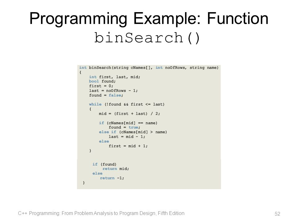 Programming Example: Function binSearch()
