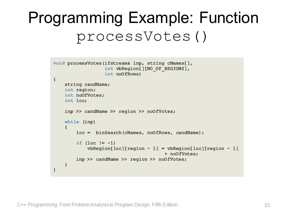 Programming Example: Function processVotes()
