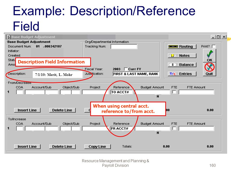 Example: Description/Reference Field