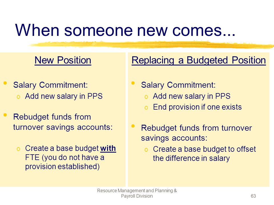 When someone new comes... New Position Replacing a Budgeted Position