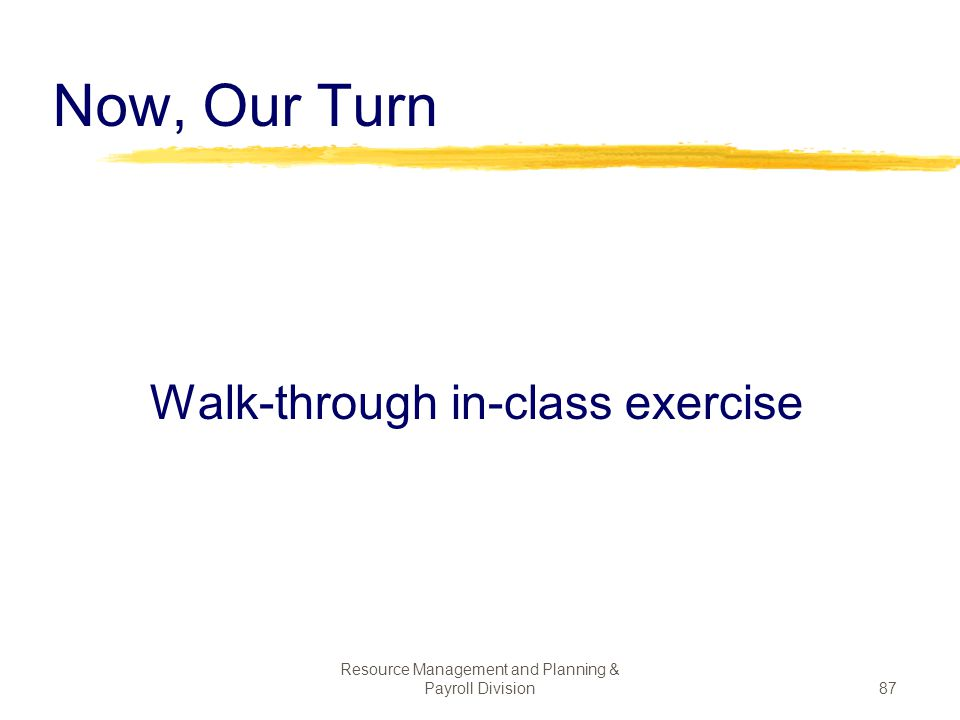Now, Our Turn Walk-through in-class exercise