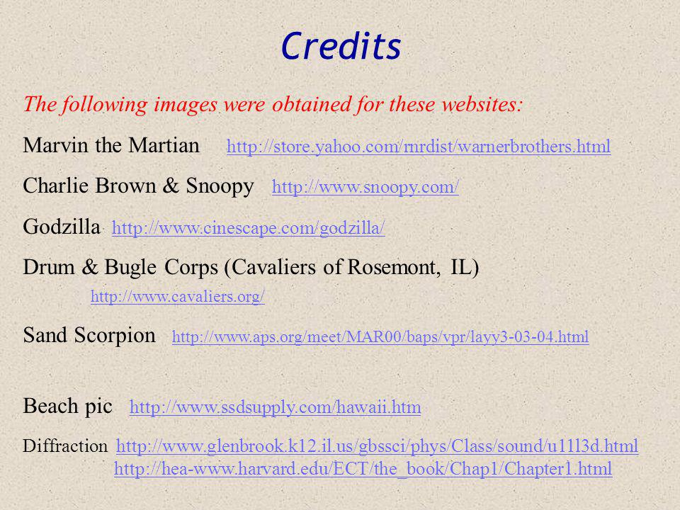 Credits The following images were obtained for these websites: