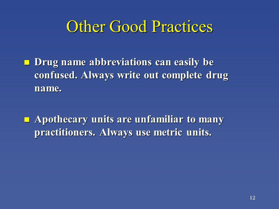 Other Good Practices Drug name abbreviations can easily be confused. Always write out complete drug name.