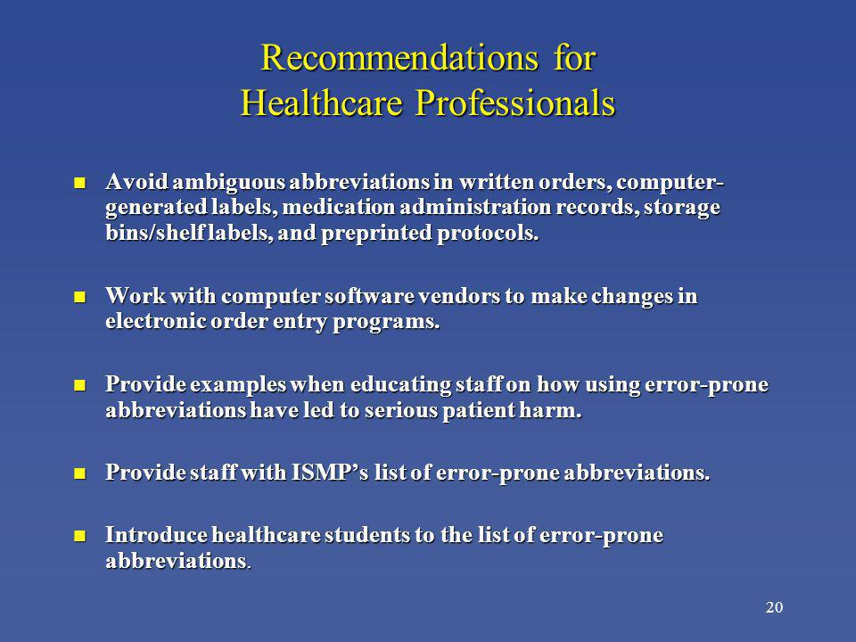 Recommendations for Healthcare Professionals