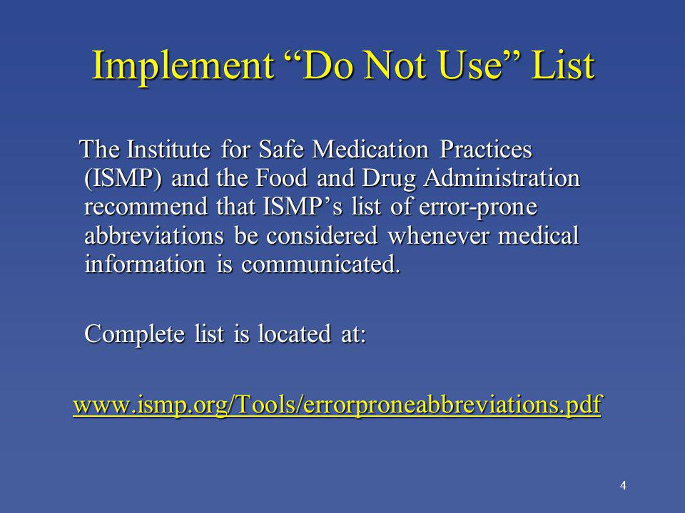 Implement Do Not Use List