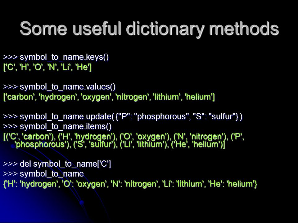 Some useful dictionary methods