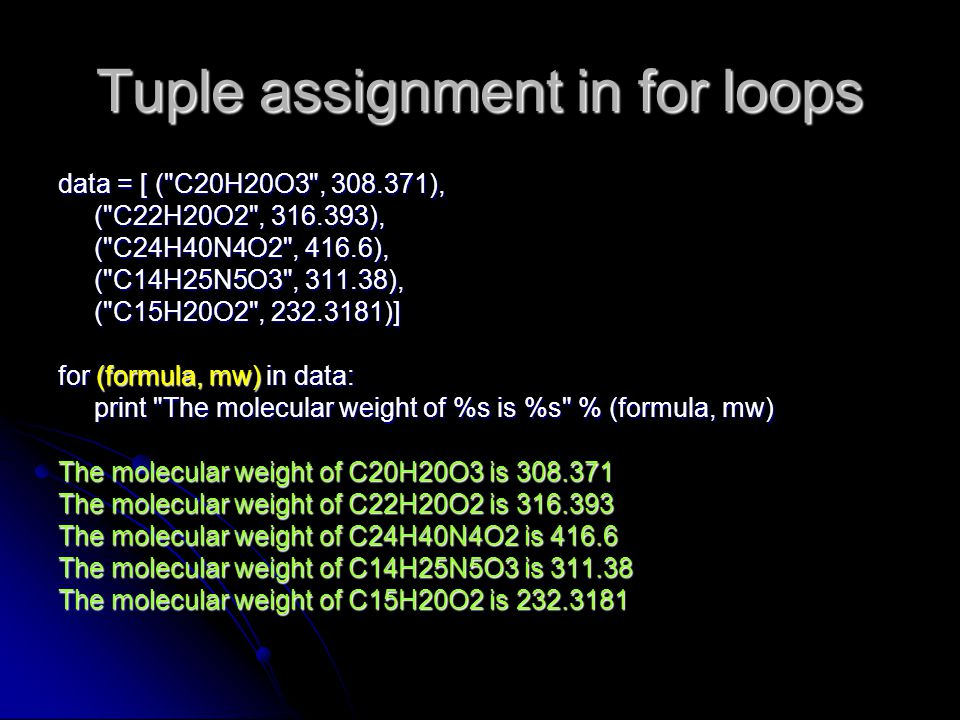 Tuple assignment in for loops