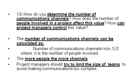 13) How do you determine the number of communications channels