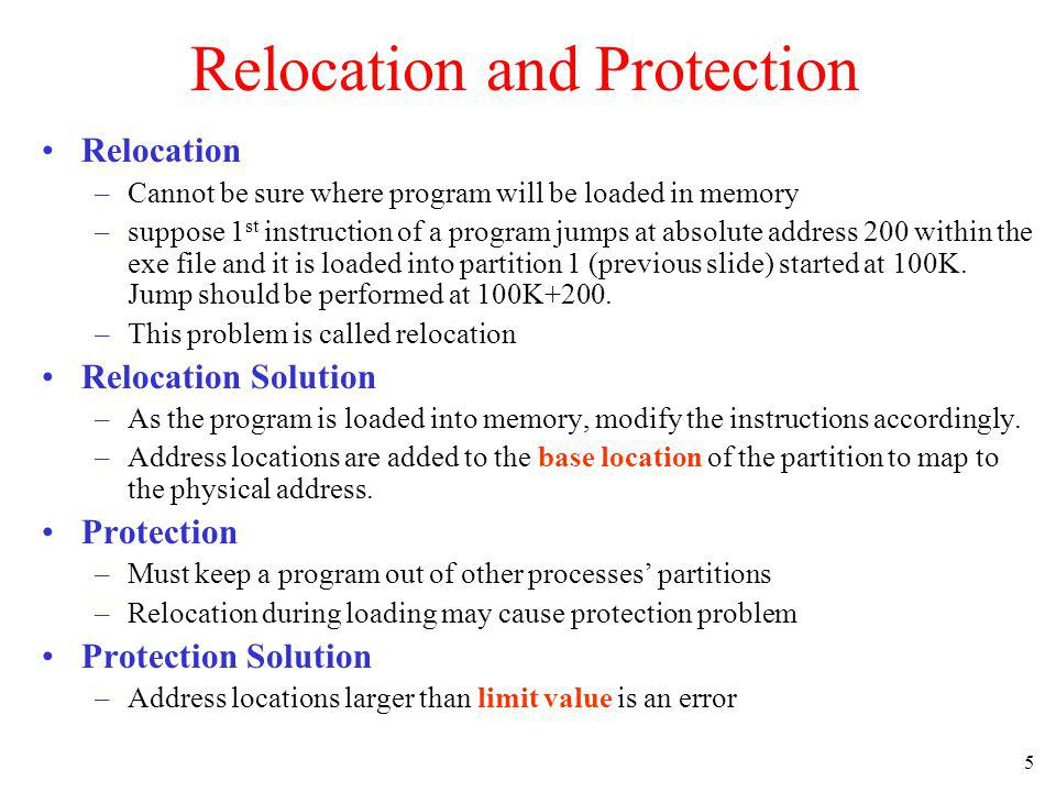 Relocation and Protection