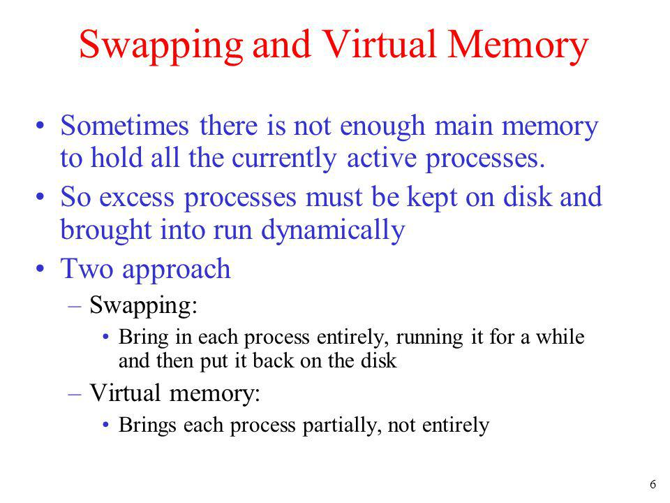 Swapping and Virtual Memory