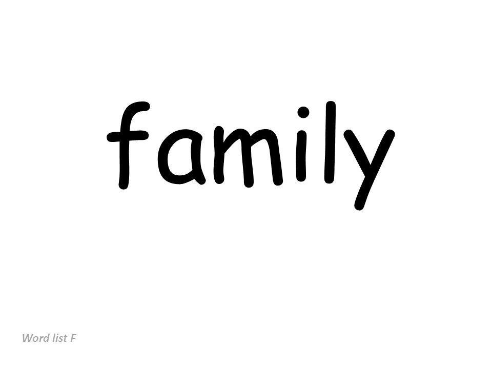 family Word list F