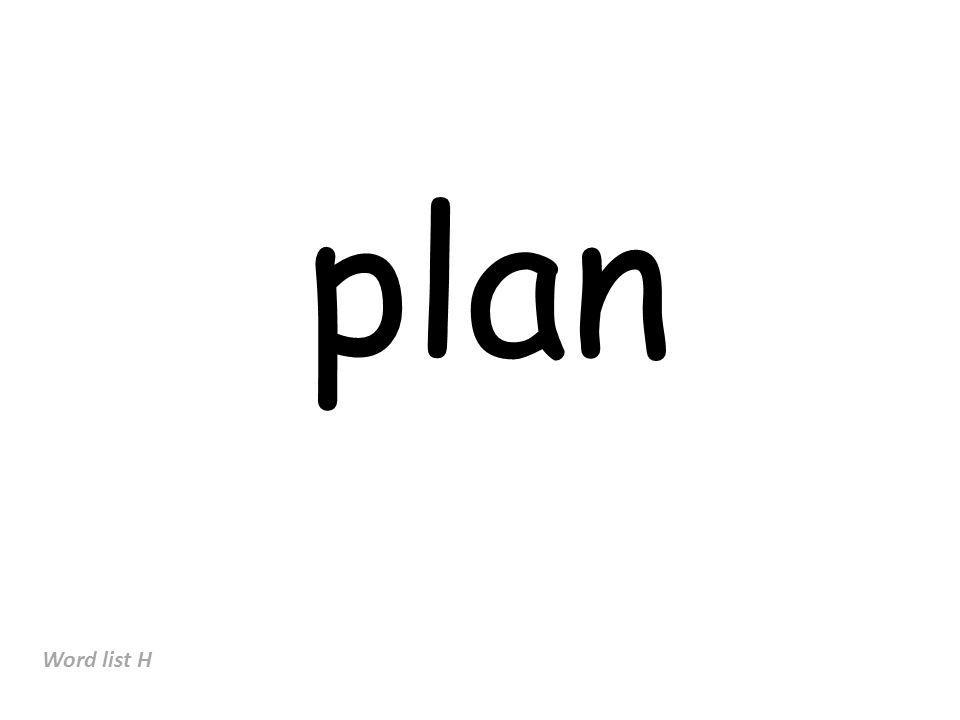 plan Word list H