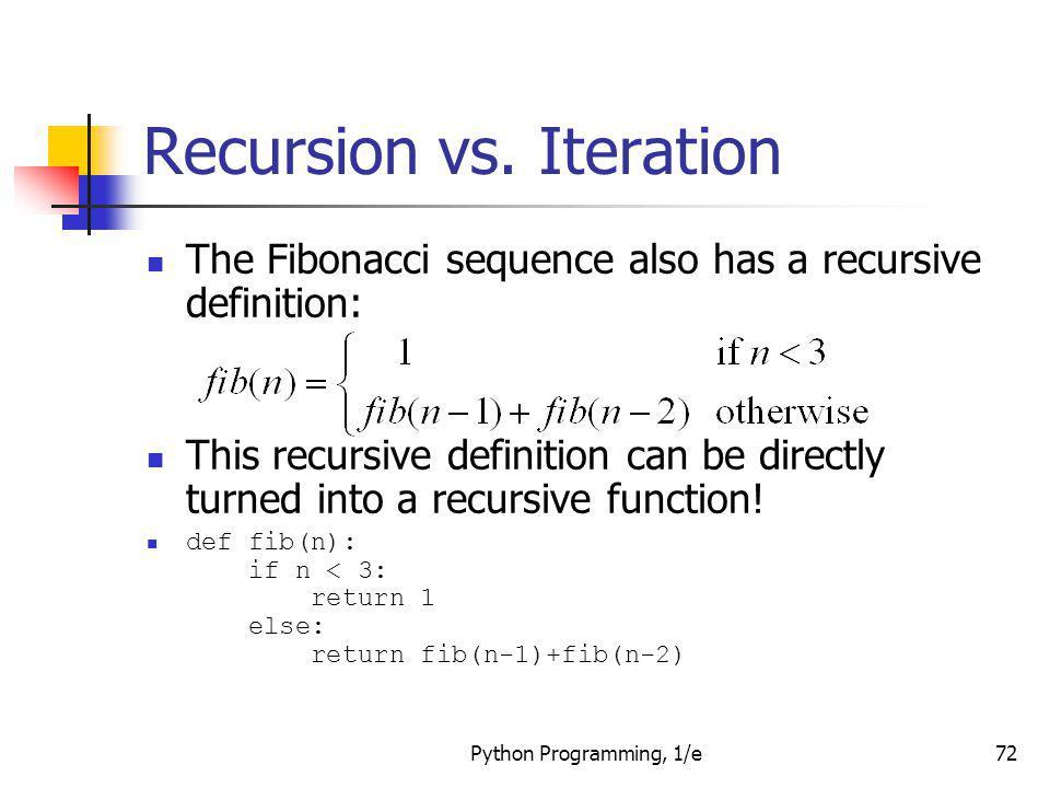 Fibonacci series in python without recursion