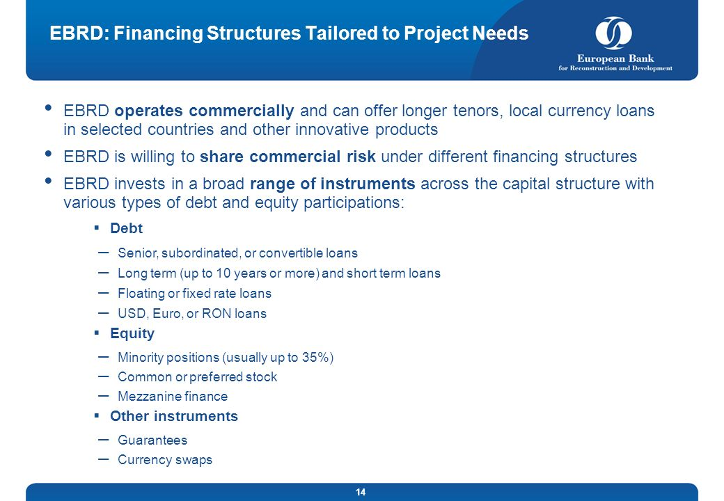 EBRD: Financing Structures Tailored to Project Needs