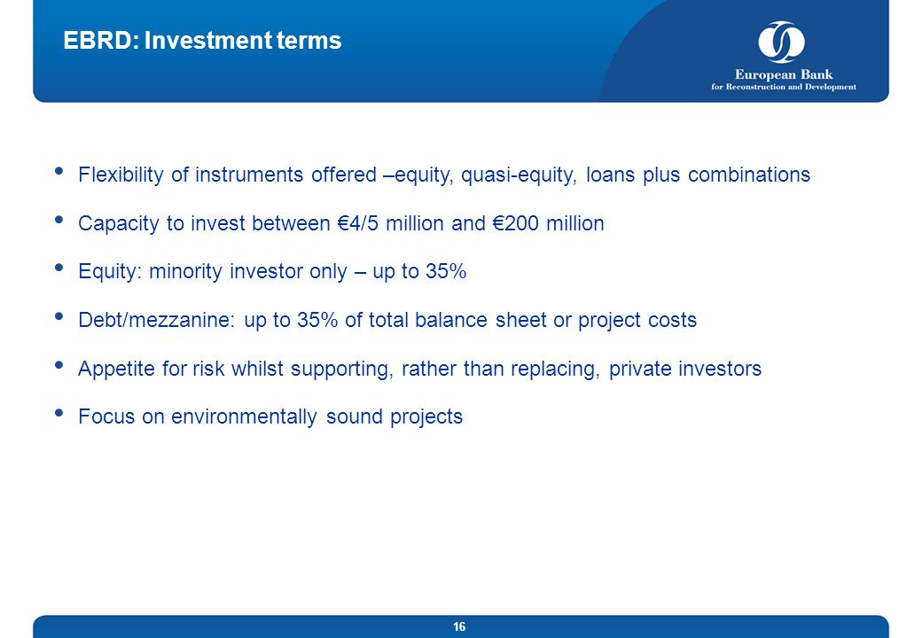 EBRD: Investment terms