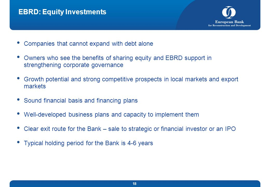 EBRD: Equity Investments