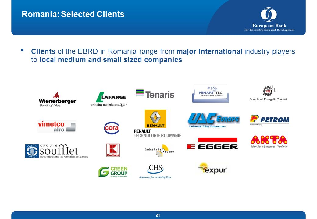 Romania: Selected Clients