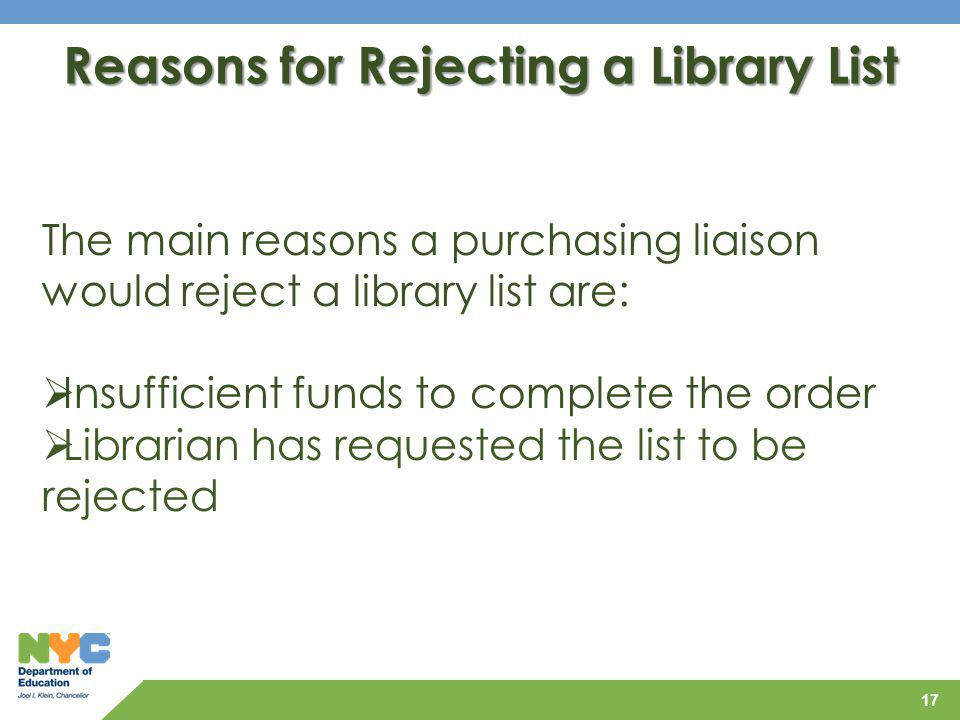 Reasons for Rejecting a Library List