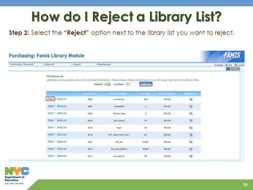 How do I Reject a Library List