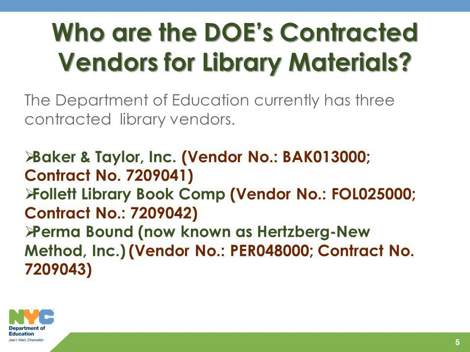 Who are the DOE's Contracted Vendors for Library Materials