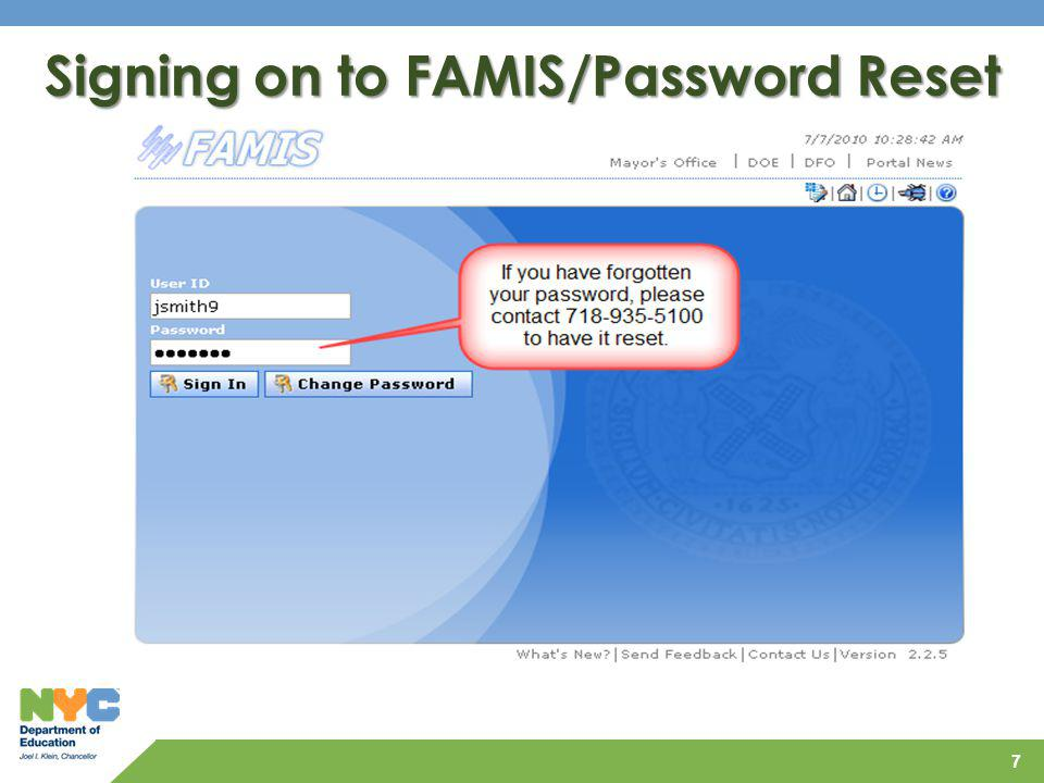 Signing on to FAMIS/Password Reset