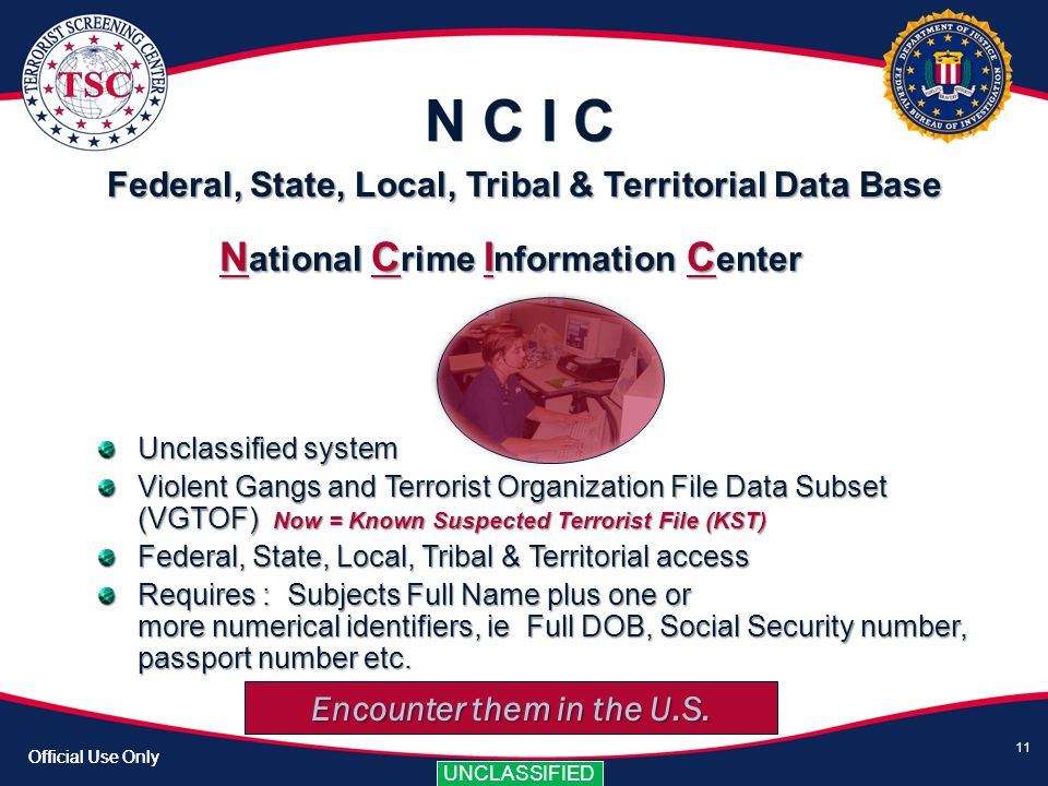 National Crime Information Center Encounter them in the U.S.