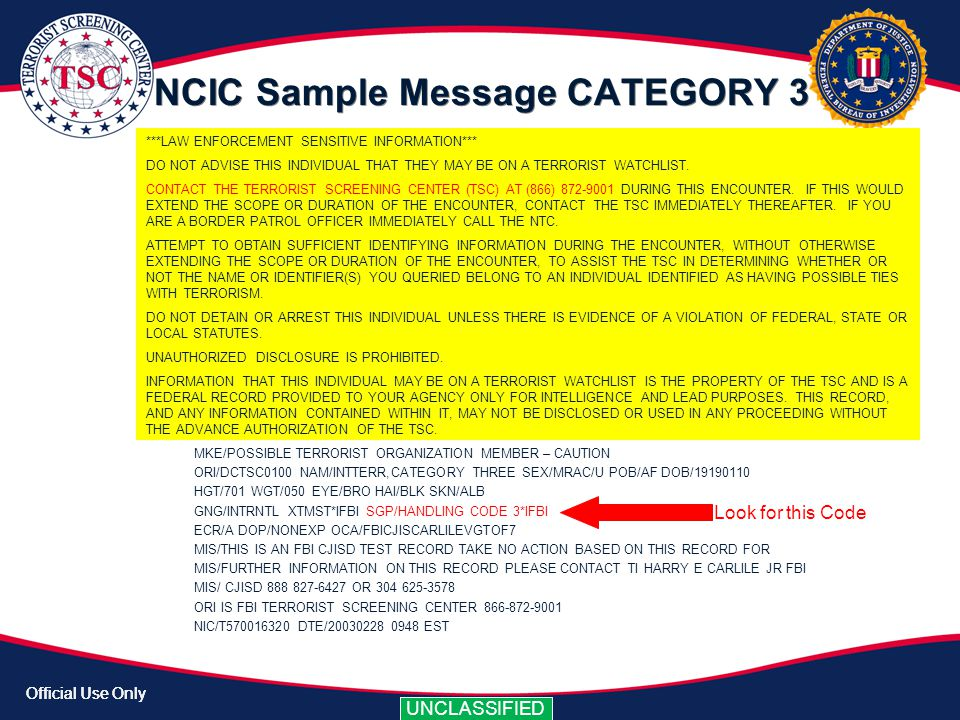 NCIC Sample Message CATEGORY 3