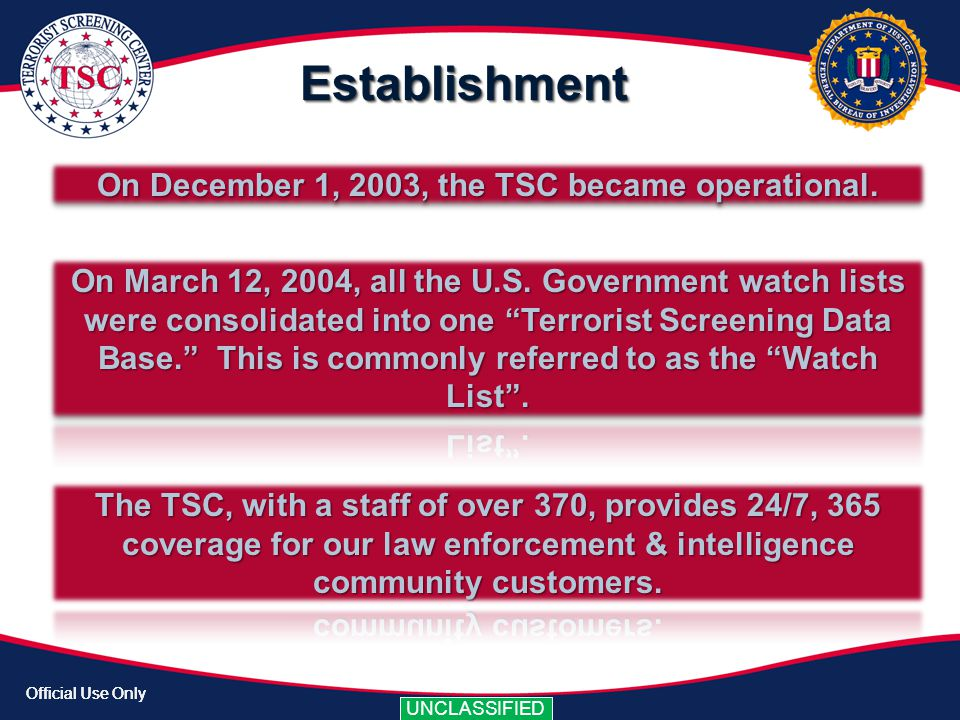 On December 1, 2003, the TSC became operational.