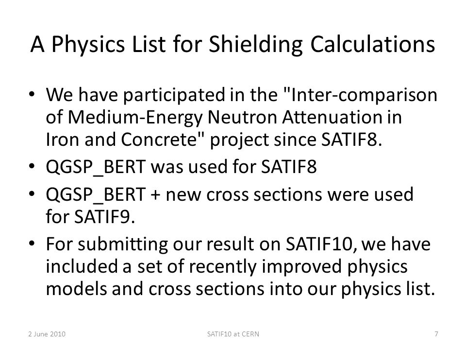 A Physics List for Shielding Calculations