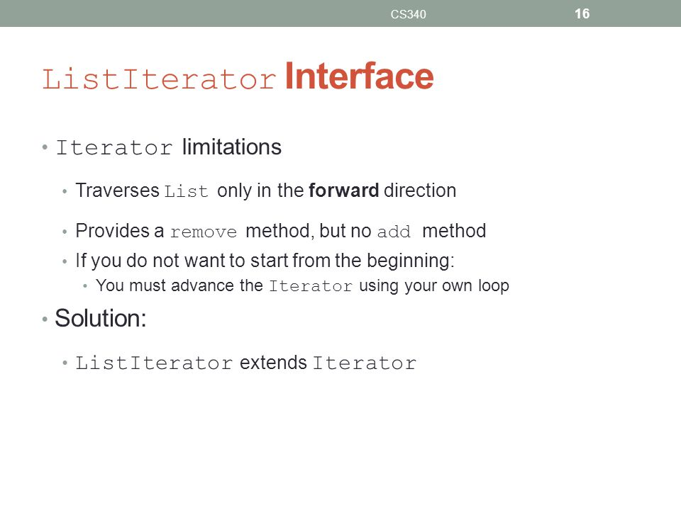 ListIterator Interface