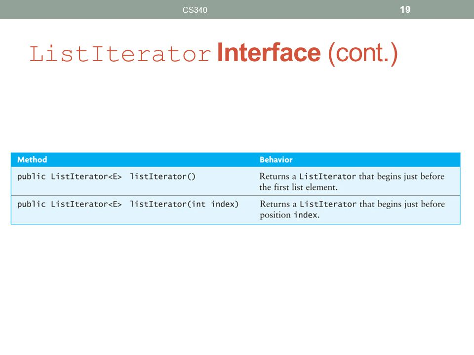 ListIterator Interface (cont.)