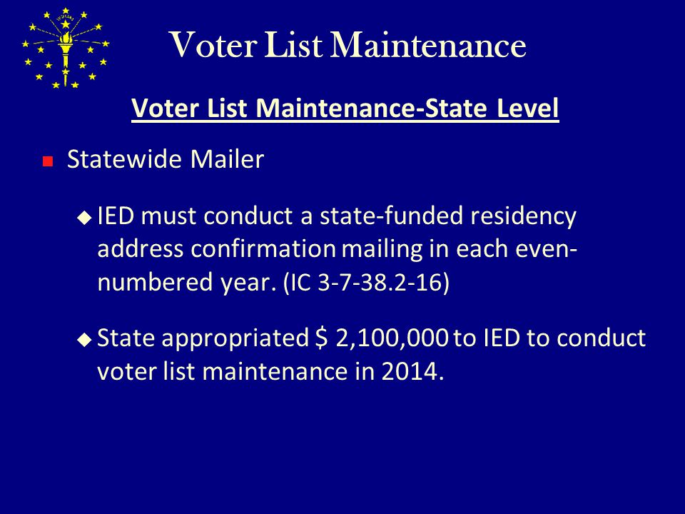 Voter List Maintenance Programs - ppt video online download