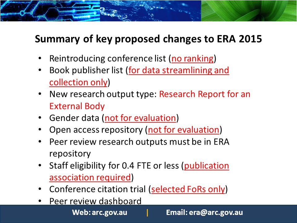 Summary of key proposed changes to ERA 2015