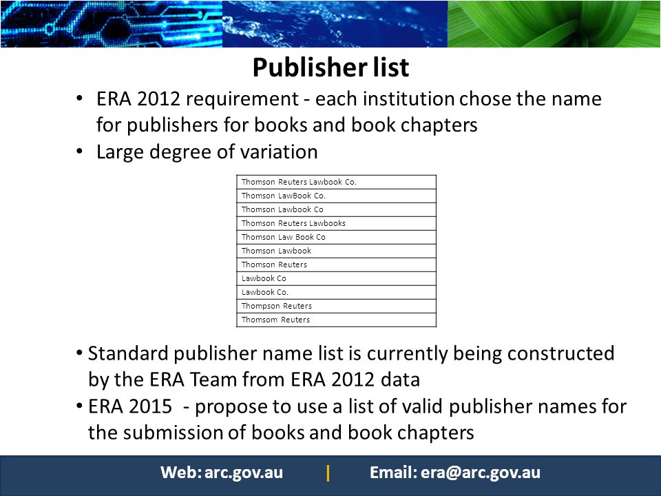 Publisher list ERA 2012 requirement - each institution chose the name for publishers for books and book chapters.